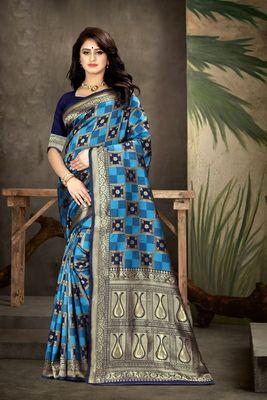 Navy blue woven kanjivaram silk saree with blouse