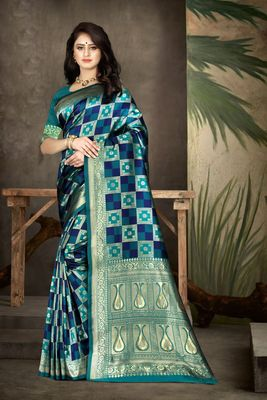 Sea green woven kanjivaram silk saree with blouse