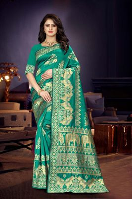 Sea green woven kanjivaram silk saree with blouse