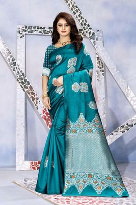 Sky blue woven kanjivaram silk saree with blouse