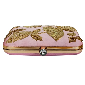 Ivory Embroidery Box Clutch