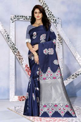 Navy blue woven kanjivaram silk saree with blouse