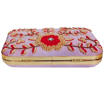 Pink Embrodery Box Clutch