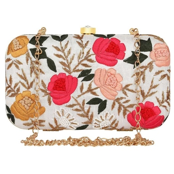 white & Pink Embroidered Box Clutch