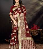 Buy Maroon Woven Art Silk Saree With Blouse