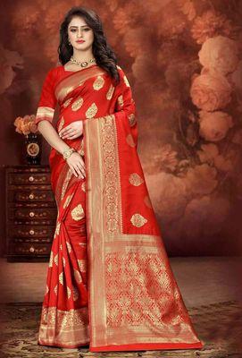 Red Woven Kanjivaram Silk Saree With Blouse