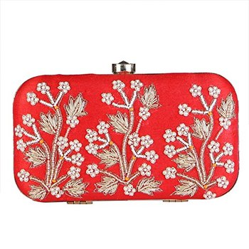 WOMEN'S EMBROIDERY BOX CLUTCH FOR BRIDAL, CASUAL, PARTY, WEDDING (RED)