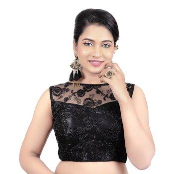 Dull Black High Neck Dupion Silk Full Net Padded Princess Cut Sleeveless Readymade Saree Blouse
