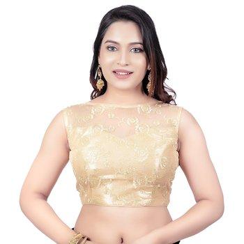 Gold High Neck Dupion Silk Full Net Padded Princess Cut Sleeveless Readymade Saree Blouse