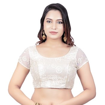Back Open Art Silk Bright Pearl Net Short Net Sleeves Princess Cut Padded Readymade Saree Blouse