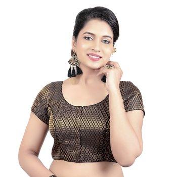 Black Brocade Short Sleeves Padded Princess Cut Readymade Saree Blouse