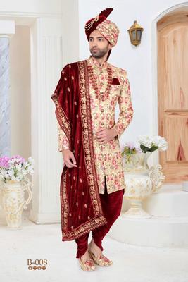 Beige embroidered fancy fabric indo-western-dresses