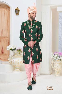 Green embroidered fancy fabric indo-western-dresses