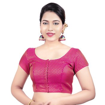 Pink Brocade Short Sleeves Padded Princess Cut Readymade Saree Blouse