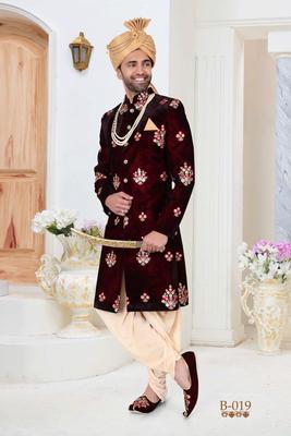 Maroon embroidered velvet indo-western-dresses