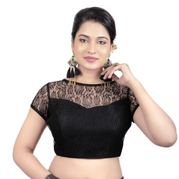 High Neck Black Dupion Silk Full Net Padded Princess Cut Short Sleeves Readymade Saree Blouse