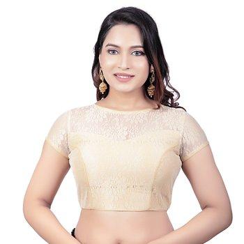 High Neck Black Dupion Silk Full Net Padded Princess Cut Short Sleeves Readymade Saree Blouse