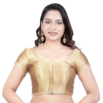 Gold Brocade Princess Cut Short Sleeves Padded Readymade Saree Blouse