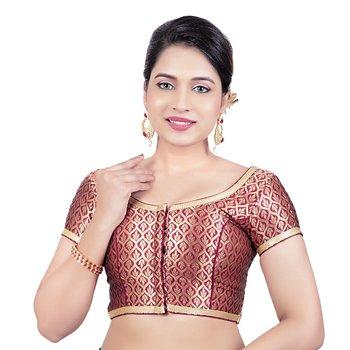 Maroon Brocade Princess Cut Short Sleeves Padded Readymade Saree Blouse