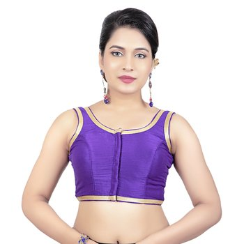 Dark Purple Plain Dupion Silk Golden Lace Princess Cut Padded Sleeveless Readymade Saree Blouse