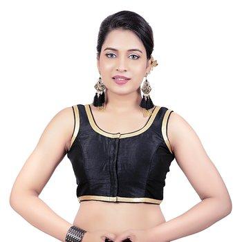 Black Plain Dupion Silk Golden Lace Princess Cut Padded Sleeveless Readymade Saree Blouse