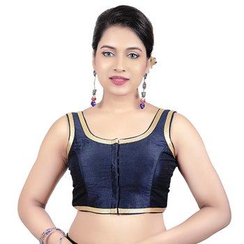 Navy Blue Plain Dupion Silk Golden Lace Princess Cut Padded Sleeveless Readymade Saree Blouse
