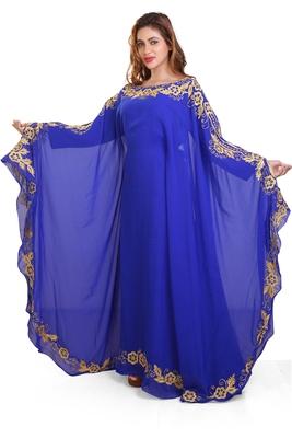 royal blue moroccan dubai kaftan farasha aari and stone work dress