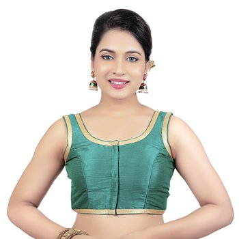 Rama Green Plain Dupion Silk Golden Lace Princess Cut Padded Sleeveless Readymade Saree Blouse