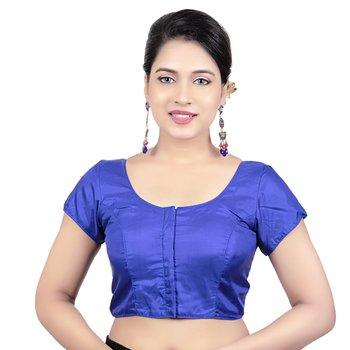 Royal Blue Banglori Silk Plain Short Sleeves Princess Cut Padded Readymade Saree Blouse