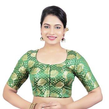 Brocade Green Umbrella Design Half Sleeves Princess Cut Padded Readymade Saree Blouse