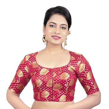 Brocade Red Umbrella Design Half Sleeves Princess Cut Padded Readymade Saree Blouse