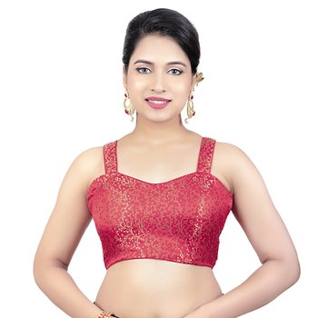 Brocade Red Paghetti Strap Princess Cut Padded Sleeveless Readymade Saree Blouse