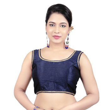 Navy Plain Raw Silk Stone Work Lace Princess Cut Padded Sleeveless Readymade Saree Blouse