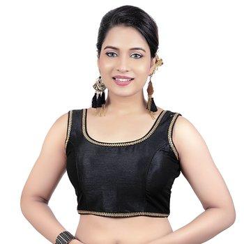 Gold Plain Raw Silk Stone Work Lace Princess Cut Padded Sleeveless Readymade Saree Blouse