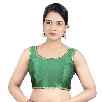 Navy Plain Raw Silk Stone Work Lace Princess Cut Padded Sleeveless Readymade Saree Blouse