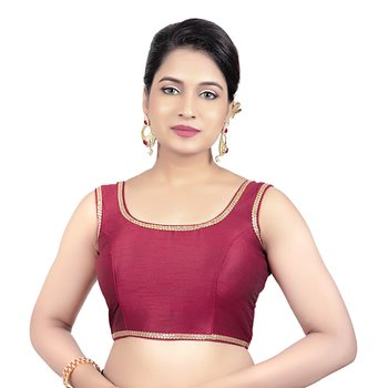 Red Plain Raw Silk Stone Work Lace Princess Cut Padded Sleeveless Readymade Saree Blouse