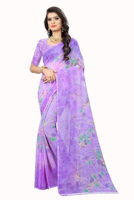 Purple printed chiffon saree with blouse