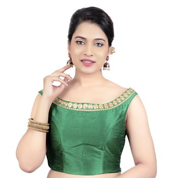 Green Boat Neck Dupion Silk Princess Cut Padded Off Shoulder Sleeveless Side Zipper Readymade Saree Blouse