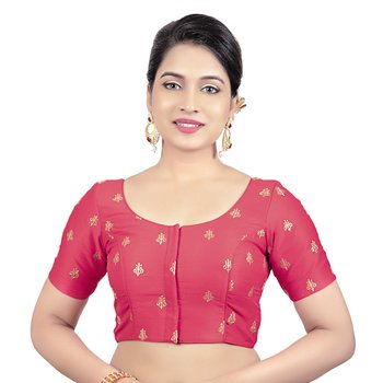 Red Dupion Silk Embroidered Elbow Sleeves Princess Cut Padded Readymade Saree Blouse