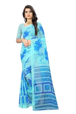 Sky blue printed chiffon saree with blouse