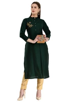 Women Embroidered Poly Silk Straight Kurta