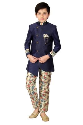 Blue plain polyester boys-indo-western-dress