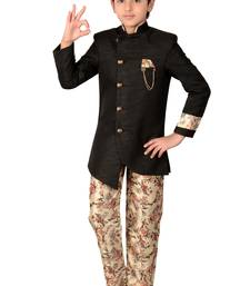 Black plain polyester boys-indo-western-dress