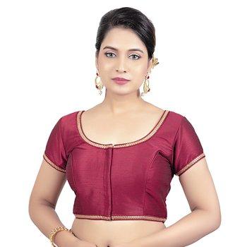 Maroon Dupion Silk Princess Cut Padded Short Sleeves Readymade Saree Blouse
