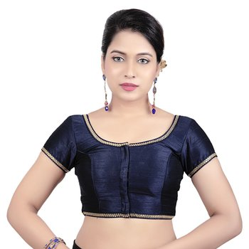 Navy Dupion Silk Princess Cut Padded Short Sleeves Readymade Saree Blouse
