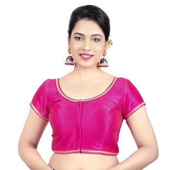 Pink Dupion Silk Princess Cut Padded Short Sleeves Readymade Saree Blouse