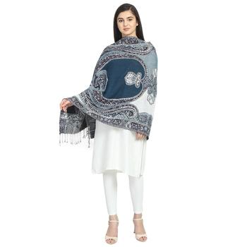 Navy & Multicolor Woolen Woven Design Paisley Shawl