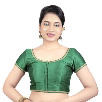 Green Dupion Silk Princess Cut Padded Short Sleeves Readymade Saree Blouse