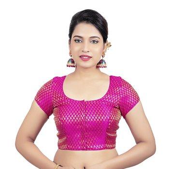 Brocade Rani Princess Cut Padded Short Sleeves Readymade Saree Blouse
