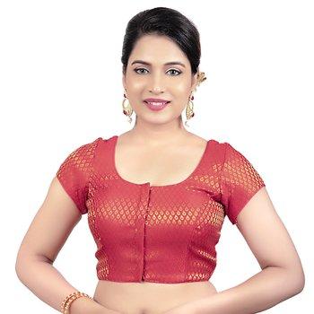 Brocade Red Princess Cut Padded Short Sleeves Readymade Saree Blouse